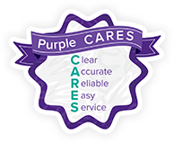 Purple CARES.Clear, Accurate, Reliable, Easy Serivce